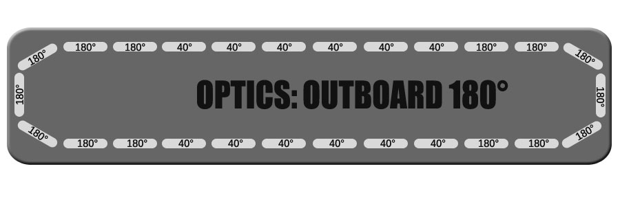 """180 Outboard Optics for Feniex Fusion 49"""" From Lone Star Public Safety"""