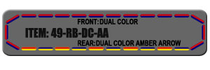 """Feniex Fusion 49"""" from Lone Star Public Safety, Red/Blue Dual Color with Amber Arrow Strip."""